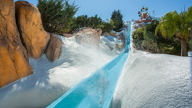 Man rockets down Slush Gusher, a high-speed waterslide