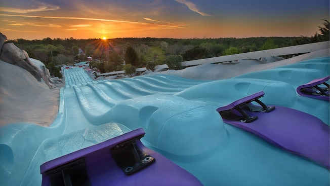 The sun rises on the horizon, illuminating Toboggan Racers attraction at Disney's Blizzard Beach