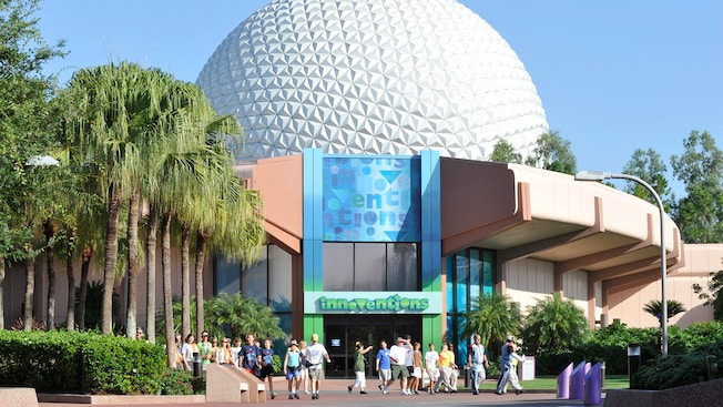 Innoventions with Spaceship Earth standing behind it