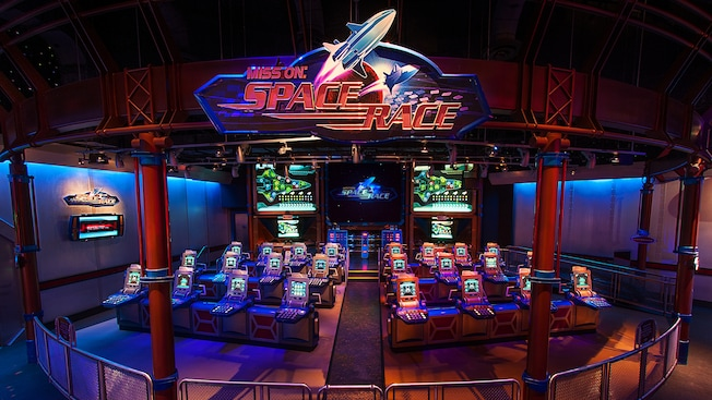 Mission: Space Race section with rows of control screens at Advanced Training Lab