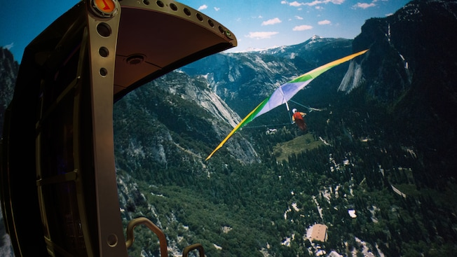 Soarin' attraction at Epcot featuring a hang-glider drifting above Yosemite Valley