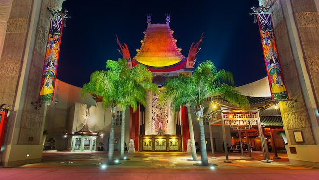 Park Guests in front of a full-scale reproduction of Hollywood's historic Grauman's Chinese Theatre