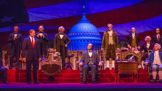Ten U.S. Presidents on stage at The Hall of Presidents in Liberty Square at Magic Kingdom park