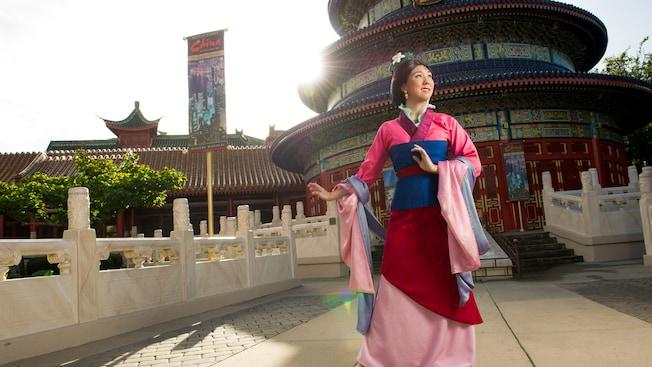 Mulan poses outside the Temple of Heaven at Meet Mulan in China at Epcot