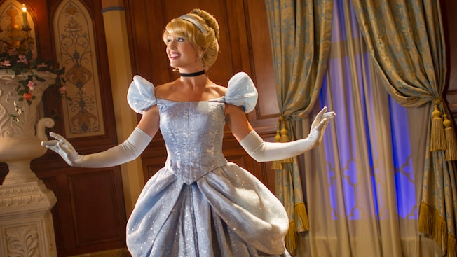 Cinderella strikes a pose at Princess Fairytale Hall in Fantasyland at Magic Kingdom park