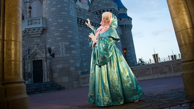 Fairy Godmother waves outside Cinderella Castle in Fantasyland at Magic Kingdom park