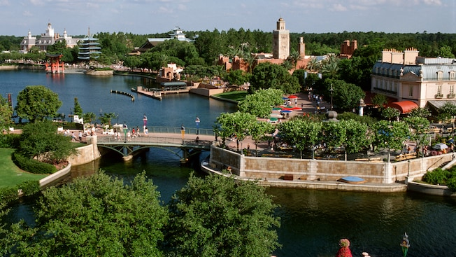 World Showcase Lagoon rimmed with international pavilions at Epcot