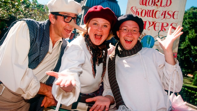 The World Showcase Players ham it up outside of the United Kingdom Pavilion