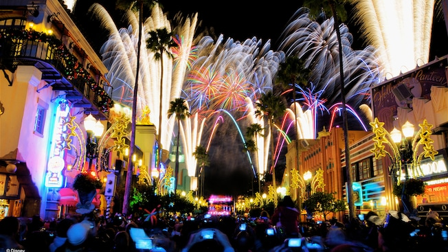 New Years fireworks light up the night sky above Hollywood Boulevard at Disney's Hollywood Studios