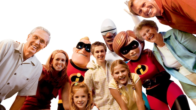 A family smiles together with Mr. Incredible, Frozone and Elastigirl