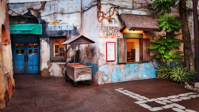 Quick-service coffee shop and bakery with an outdoor counter-window at Disney's Animal Kingdom park