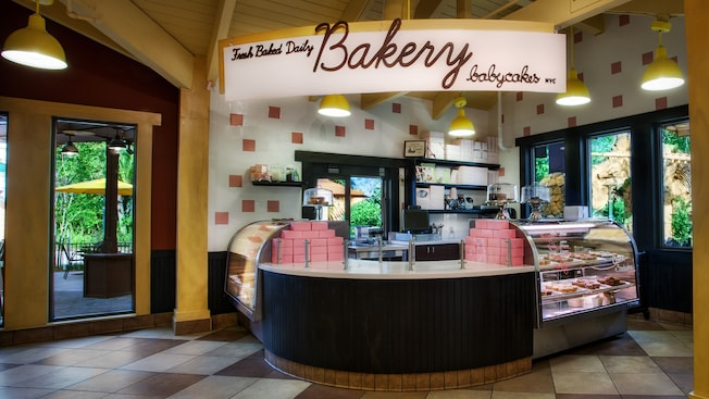 The counter and display section of BabyCakes NYC, a bakery at Downtown Disney area, featuring vegan and gluten-free treats