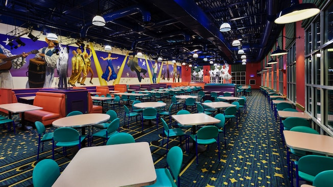 Main dining area of Intermission Food Court at Disney's All-Star Music Resort