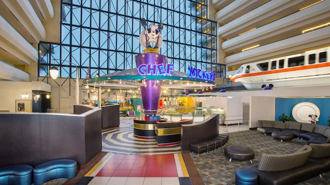 The monorail zips by Chef Mickey's buffet in the lobby of Disney's Contemporary Resort