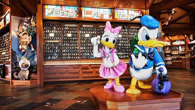 Daisy, Donald and displays of pins at Disney's Pin Traders at Downtown Disney Marketplace