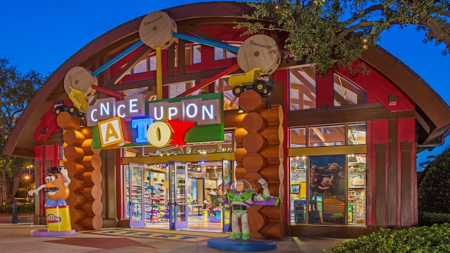Playful exterior of Once Upon a Toy, a toy store at Downtown Disney