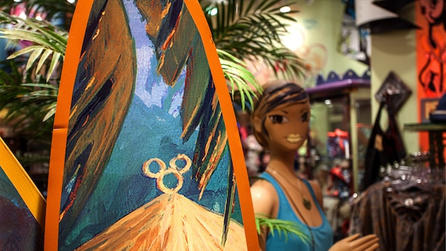 Close-up of a hidden Mickey on a surfboard at TrenD at the Downtown Disney Area