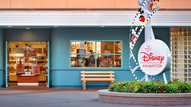 Entrance to Animation Gallery next to a sign for The Magic of Disney Animation attraction