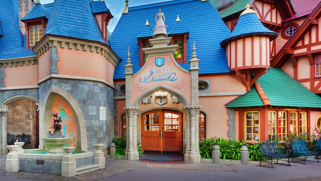 Panoramic view of Castle Couture in Fantasyland at Magic Kingdom park