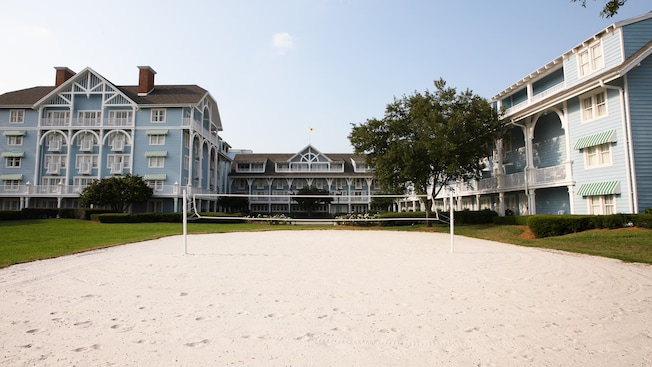 The white sands of a volleyball court outside Disney's Beach Club Resort