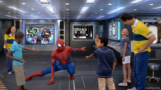 Children enjoying a Spider Man Character Greeting aboard the Disney Wonder cruise ship
