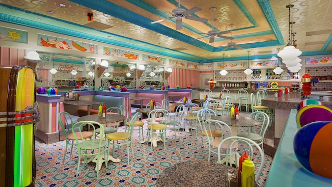 Colorful dining area of Beaches & Cream Soda Shop at Disney's Beach Club Resort