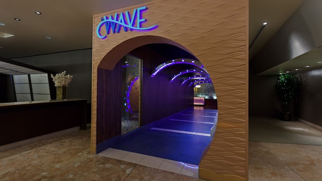 Tubular wave-like entry to The Wave… of American Flavors