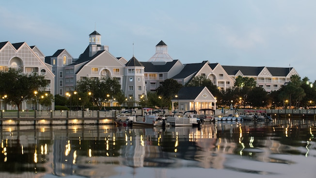 Panoramic view of the marina and watercraft rentals at Disney's Yacht Club Resort