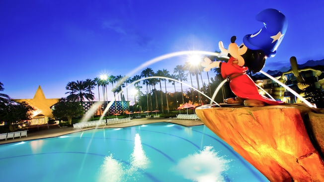 Sorcerer Mickey over Fantasia Pool at Disney's All-Star Movies Resort