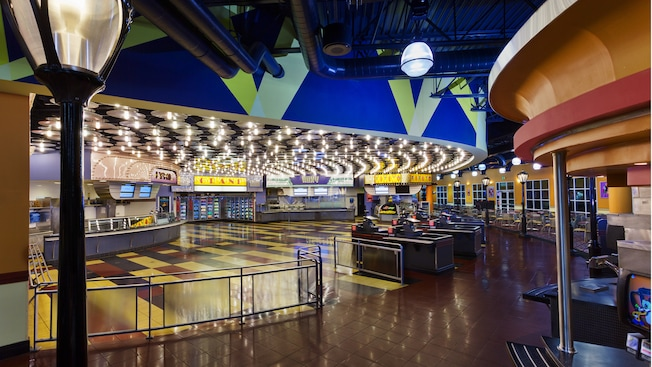 nside World Premiere Food Court at Disney's All-Star Movies Resort