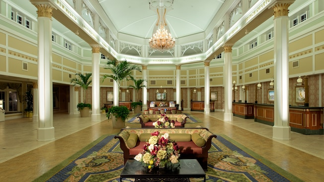 The lobby of the Sassagoula Steamboat Company, the Resort's main building
