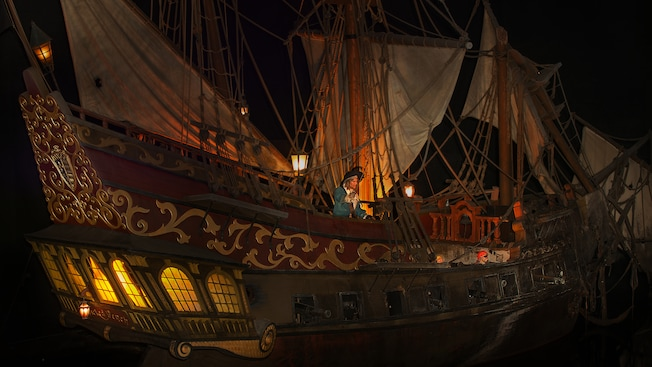 Captain Barbossa leads a pirate galleon in battle at Pirates of the ...: https://disneyland.disney.go.com/attractions/disneyland/pirates-of...