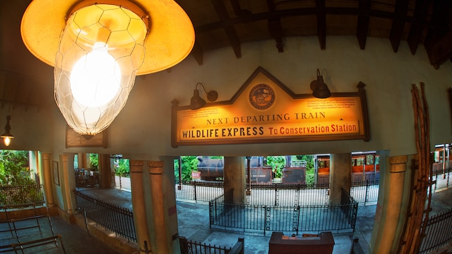 Inside Harambe station with a sign announcing the Wildlife Express to Conservation Station