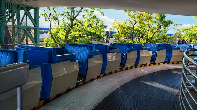 A tram with open-air cars at Tomorrowland Transit Authority PeopleMover