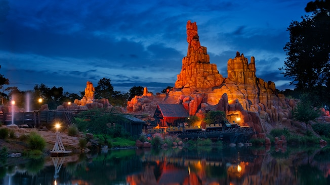 Big Thunder Mountain Railroad lit up at night