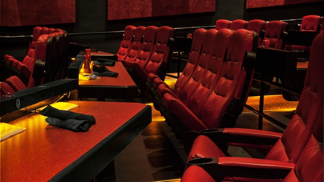 Close-up of dining table and theater seats