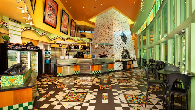 Colorful interior of The Express at Wolfgang Puck Grand Café