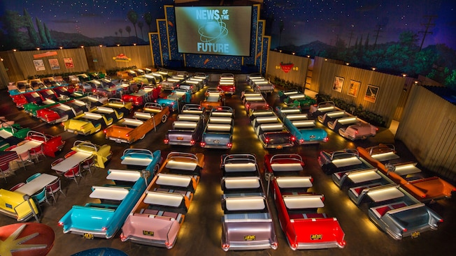 Overhead view of convertible 1950s era car dining booths of Sci-fi Dine-In Theater Restaurant