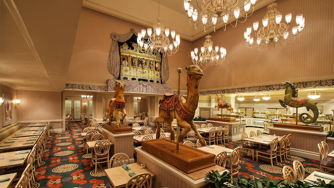 A prancing carousel camel and pony add whimsy to the dining room at 1900 Park Fare