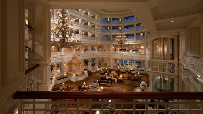 The lobby of Disney's Grand Floridian Resort & Spa as seen from a second-floor landing