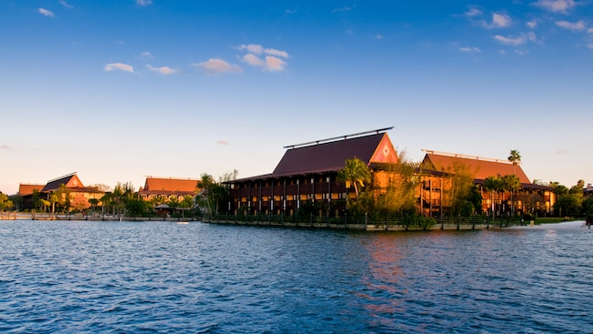 Disney's Polynesian Resort seen from the blue waters of Seven Seas Lagoon