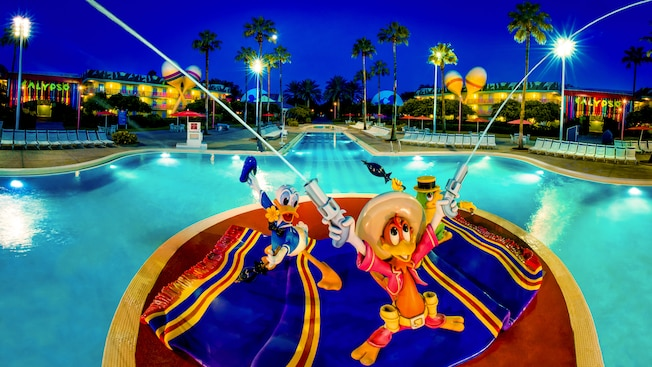 Three caballeros in pool at Disney's All-Star Music Resort