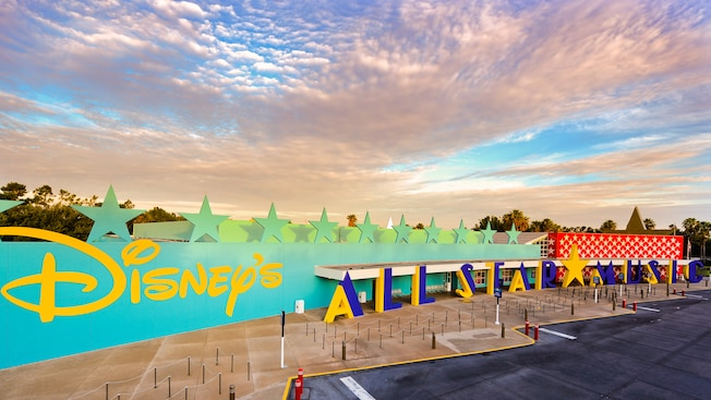 Panoramic view of entrance into Disney's All-Stars Music Resort