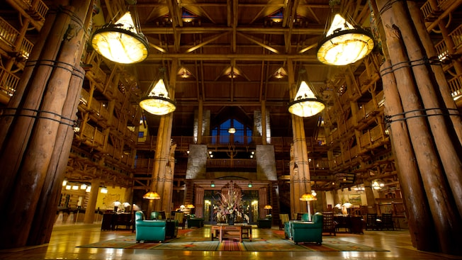 The wonderfully rustic lobby with a high ceiling at Disney's Wilderness Lodge