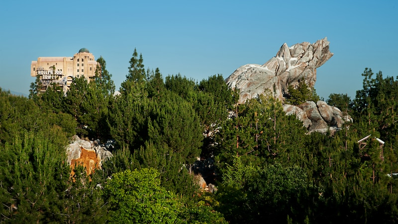 A view of Grizzly Peak and The Hollywood Tower Hotel in Disney California Adventure Park