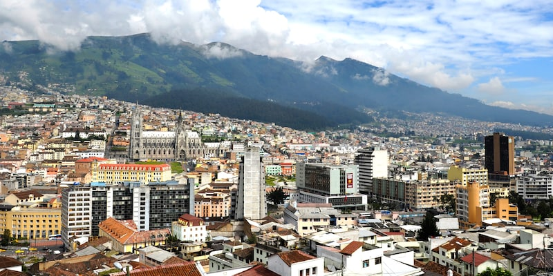 The city of Quito, Ecuador at the base of the Andes Mountains