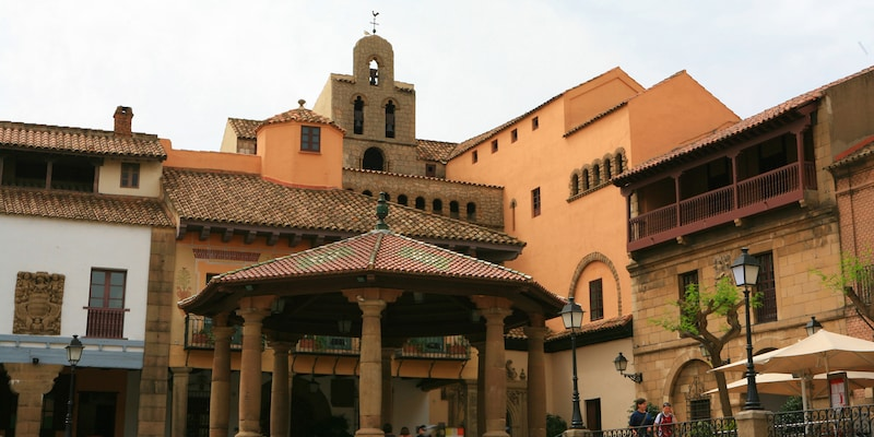 Buildings with Spanish tile rooftops