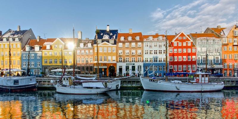 Several boats docked in Copenhagen's harbor