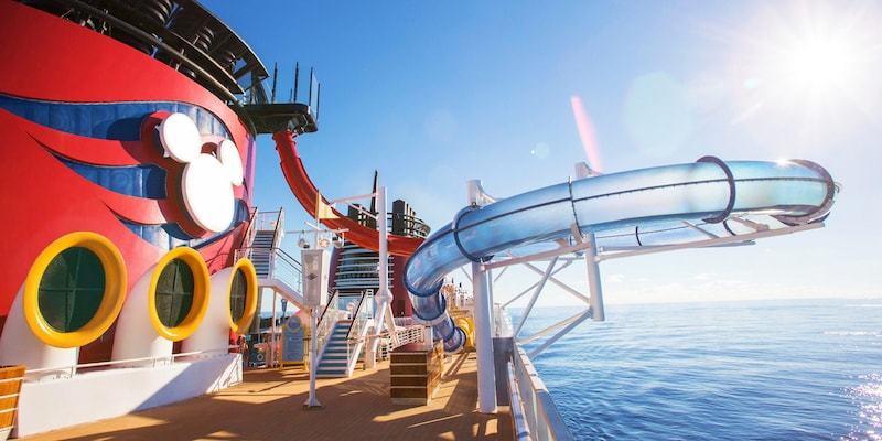 The AquaDuck water slide aboard the Disney Magic