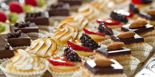 Rows of various French pastries